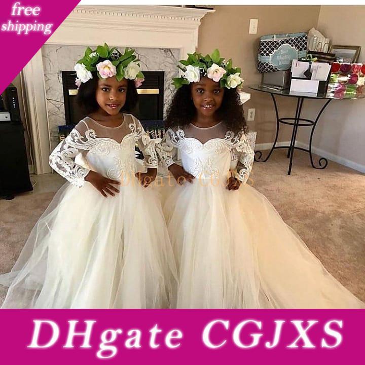 2019 neue Strand-Blumen-Mädchen-Kleider Weiß Elfenbein Boho Erstkommunion Kleid für kleine Mädchen V -Neck Langarm-A -Line preiswerte Kind Hochzeit Dre