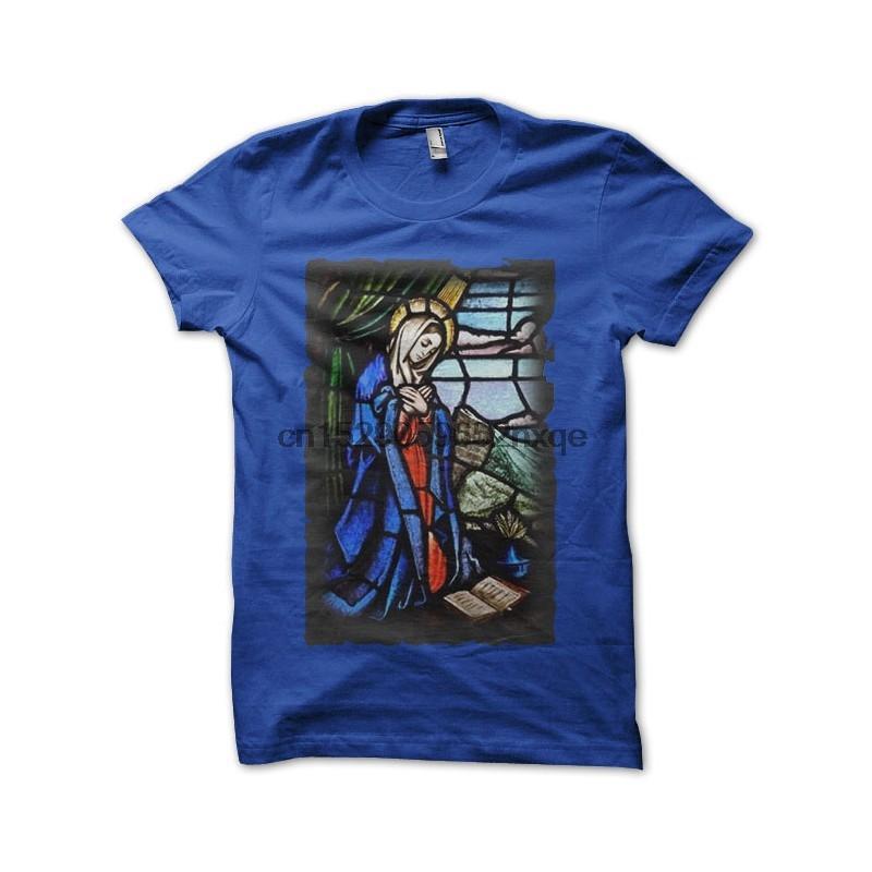 Мужчины Футболка Голубой Tee Shirt Богородица Tshirts Женщины футболку