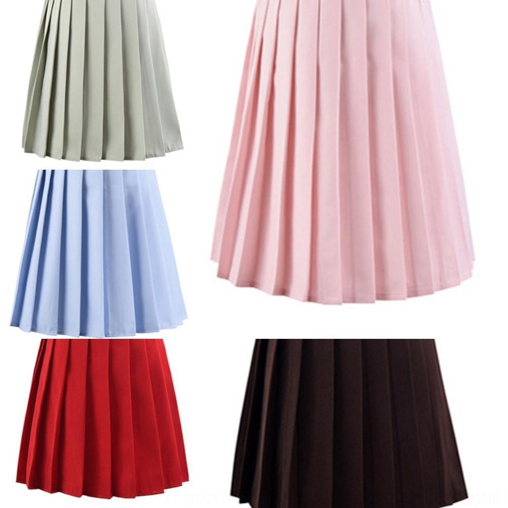 DiDCH estudante 2020 nova plissada plissado sólida de Harajuku mulheres cor saia saia jk marinheiro uniforme da manta