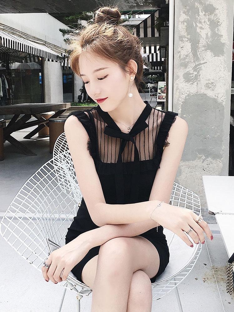 vestido de encaje francés poco de encaje estilo del verano del ventilador suave diosa atractiva temperamento de hadas pequeño vestido negro 2020 Nueva xSW37