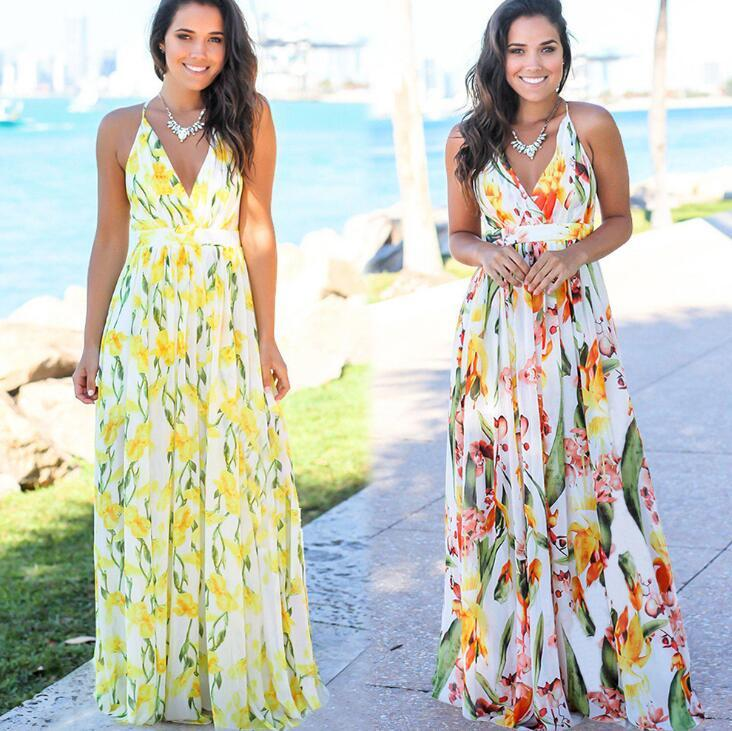 11 Styles Summer Women Designer Dresses Fashion Sexy V Neck Floral Print Boho Beach Dress Sleeveless Braces Skirt Dresses S-2XL Wholesale