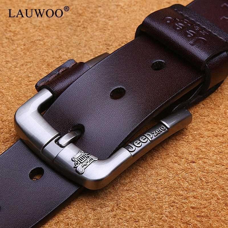 Herren Gürtel Ledergürtel Männer Dornschliesse Kuh echter Ledergürtel für Männer 125cm hohe Qualitätsmann Cinturones hombre nM3o #