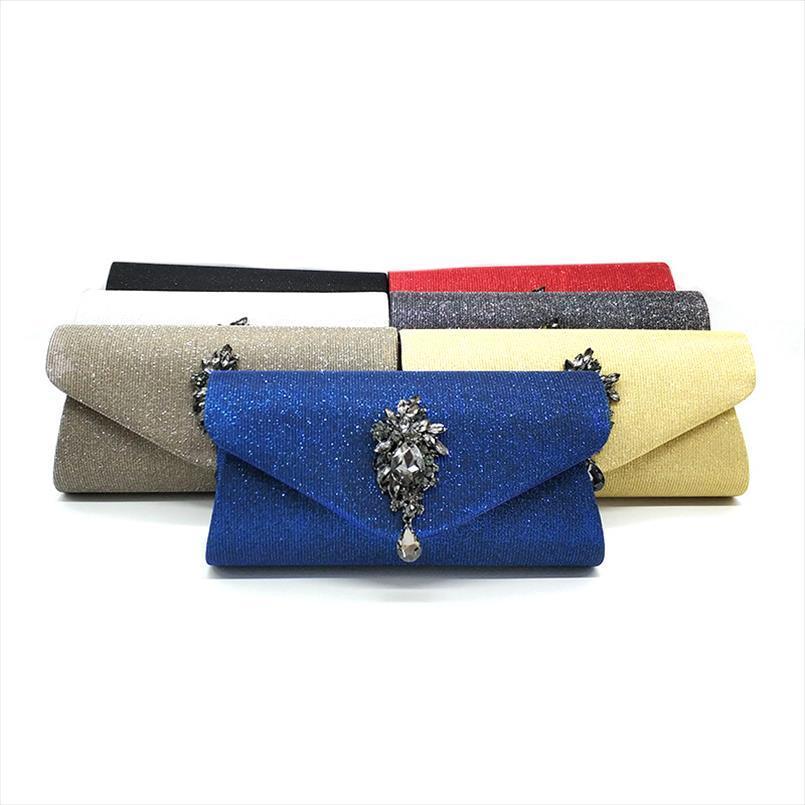 frizioni moda donne strass borsa a tracolla del partito di sera elegante sacchetto solido corpo croce frizioni festa nuziale