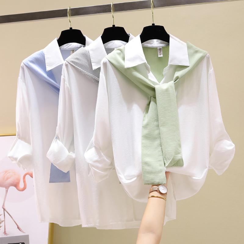 LJSXLS 2020 Sonbahar Harajuku Sahte İki Parçalı Patchwork Beyaz Gömlek Kadınlar Gevşek Uzun Kollu Bayan Bluz Koreli Bayan Giyim