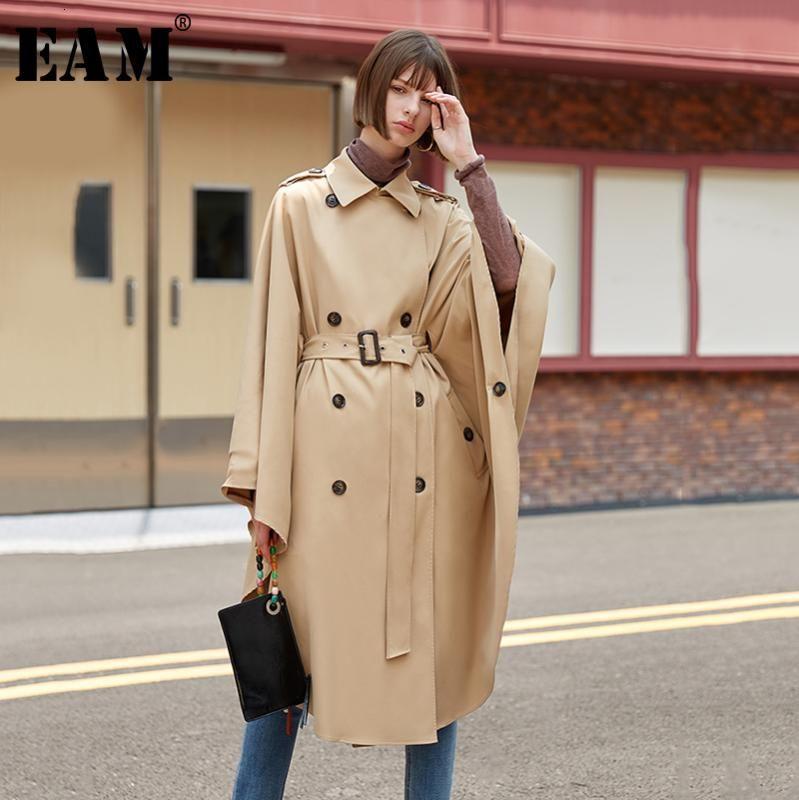 [EAM] Женщины Большой размер Двойной Брестед плащ Trench Новый нагрудные длинным рукавом Сыпучие Fit Ветровка Мода весна осень 2020 1D110