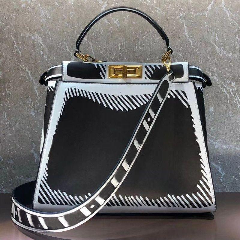 Women Tote Bag Genuine Leather Handbag Purse Fashion F letter shopping Bag Detachable Wide Strap Shoulder Bag Golden Twist Lock Inner Pocket