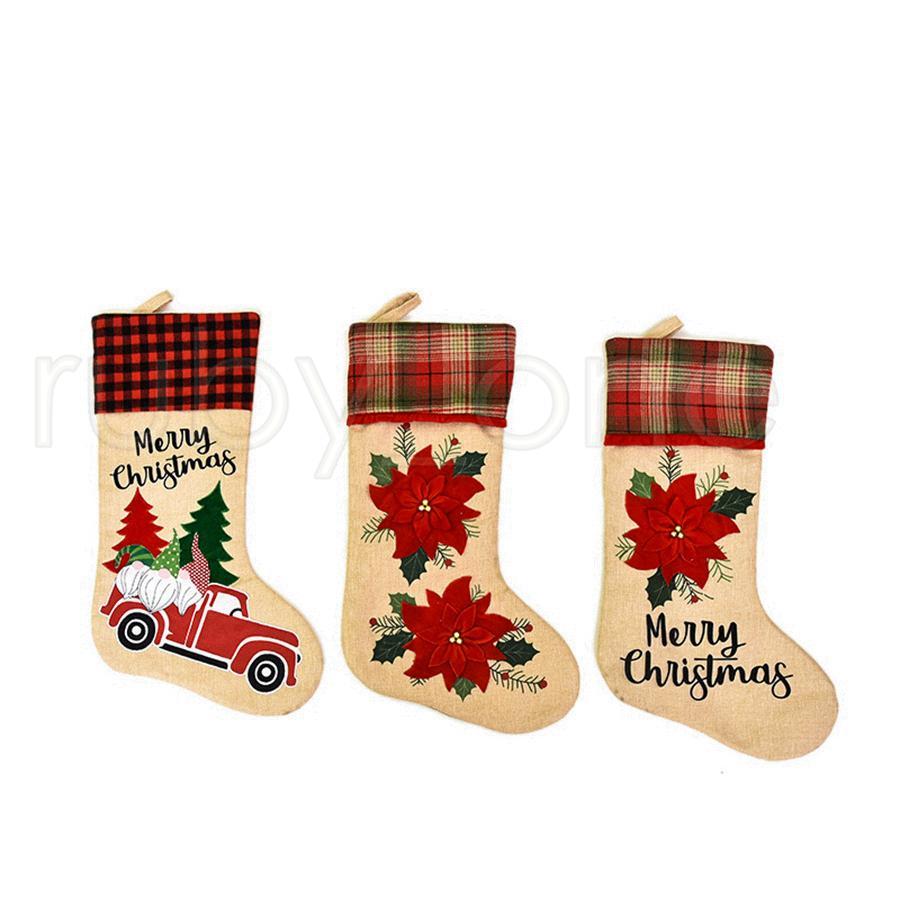 Criativa Papai Noel Meias dos desenhos animados bonito do Natal Meias dos doces Ornamentos partido da árvore de Natal Saco do presente de Natal Decoração RRA3459