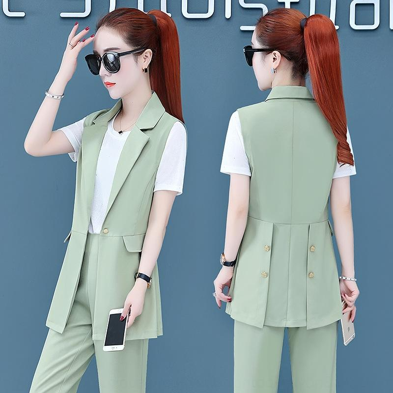 xoRg2 elegante Art und Weise dreiteiliger Anzug für Frauen 2020 dünner neuer Sommer hohe Taille westlicher Anzug Stil passen