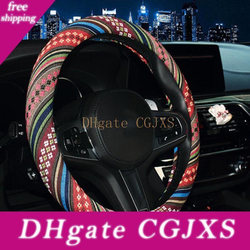 Forauto voiture VOLANT Cover Fleurs Imprimer Anti Car Styling élastique antidérapant Couvre Volant 38cm Couverture universelle