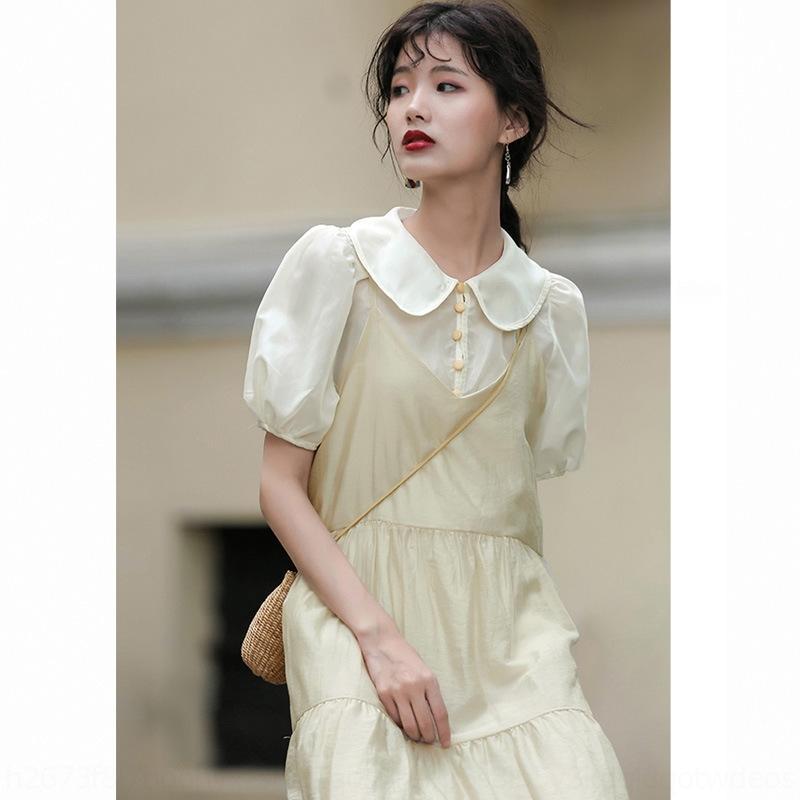 8KTgy Top stile occidentale design estate senso piccola fata delle donne bambola manica corta donne camicia della parte superiore di stile della bambola colletto della camicia