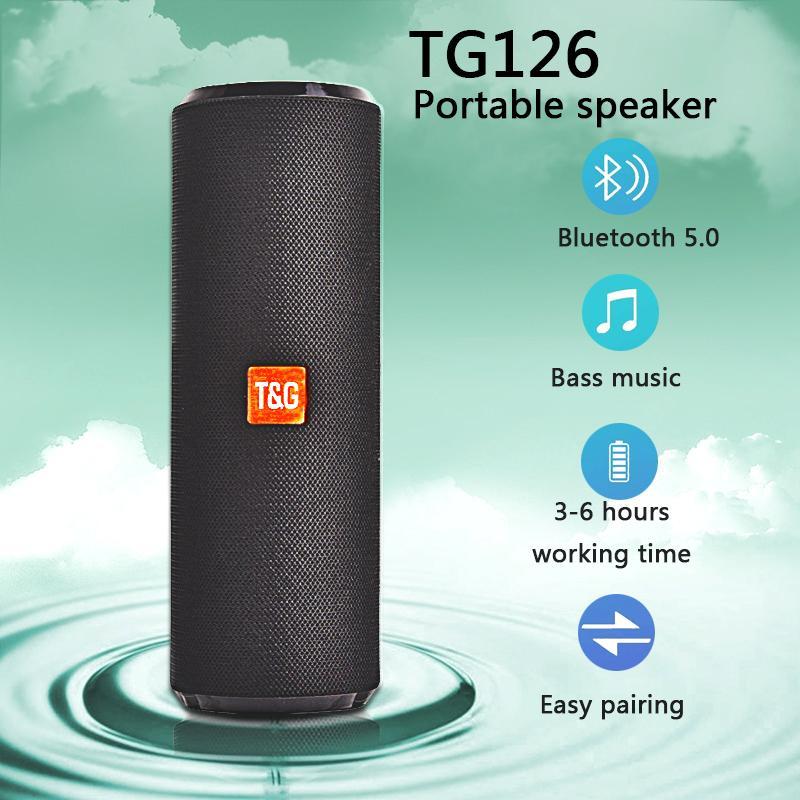 전화 / TV / 노트북을위한 TG126 블루투스 스피커 휴대용 무선 사운드 방수 FM 라디오 스테레오 뮤직 시스템 오디오 마이크