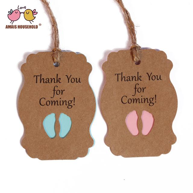 50pcs Thank you for coming Kraft Paper Tag boy Baby Shower Gift tags Packaging girl birthday Party kids DIY candy box Label