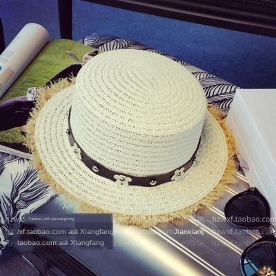 Düz stil tatlı çapak Daisy Koreli üst gelgit İngiliz xxoh6 beltsun Belt hasır hasır şapka düz kenar yaz şapka plaj perçinler
