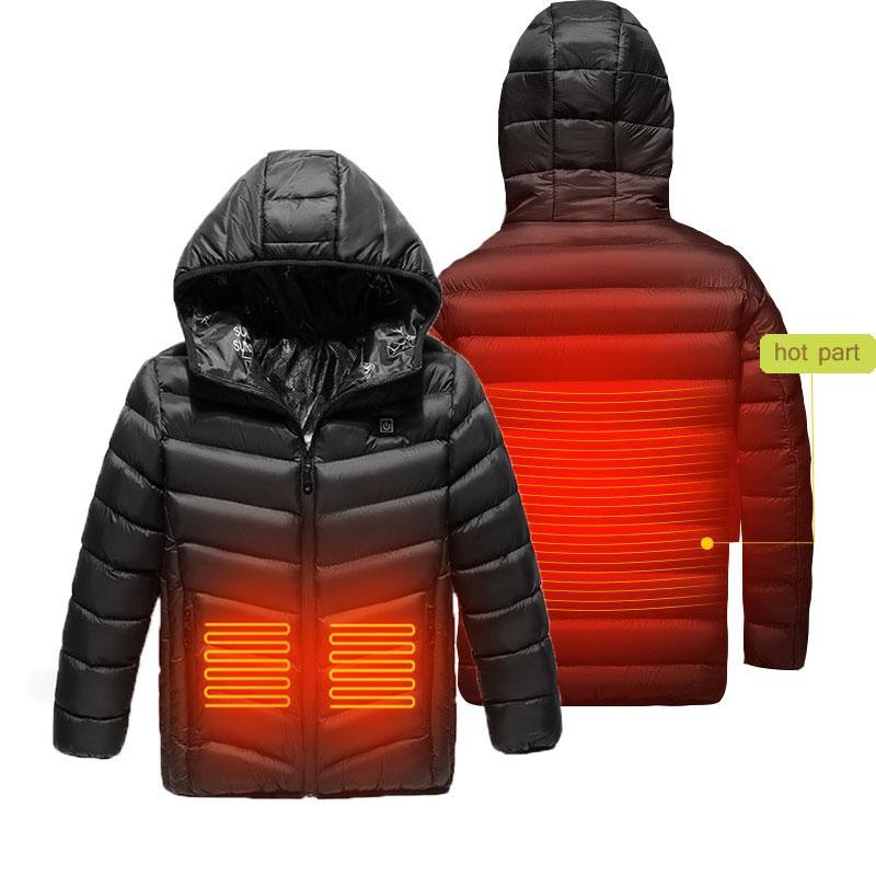 Niños USB con calefacción Calentar frontal y posterior de invierno con capucha de la chaqueta climatizada Motociclismo chaqueta de esquí Boy Correr Escudo inteligente Calefacción