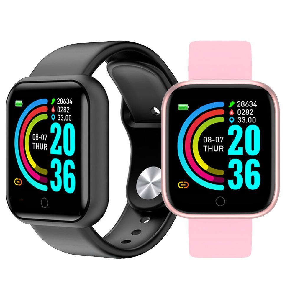 Y68 D20 relógio inteligente IP67 Waterproof aptidão Rastreador Heart Rate Monitor de Pressão Arterial Bluetooth Smartwatch Para IOS Android