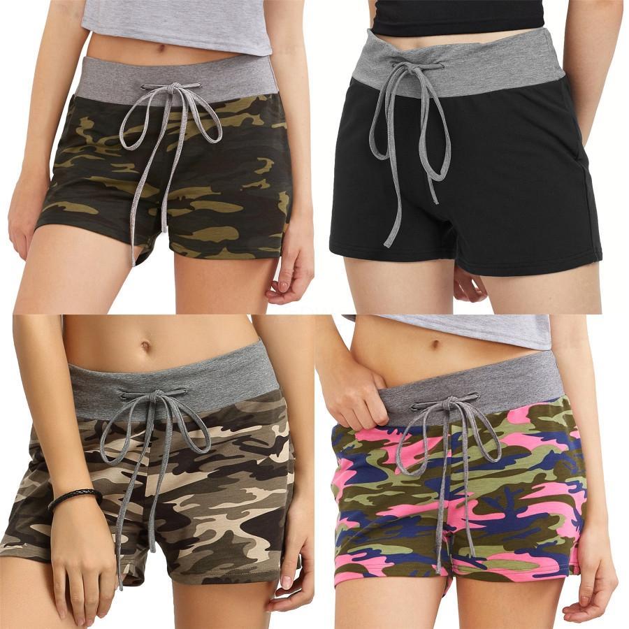 Deportes para mujer Pantalones cortos Operando Fitness Gym Pantalones cortos de cintura alta brillante conexión de frente Homewear cortocircuito de la playa 5 Color KKA1660 # 6641