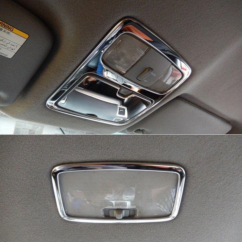 Frente de aço inoxidável e Traseira Teto Telhado Light Reading Lamp guarnição da tampa Quadro Para Land Cruiser Prado J120 2003 2009 batida de carro Interio GNBa #