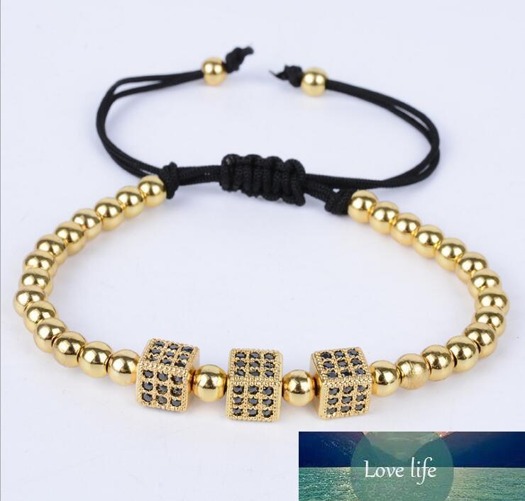 Micro pulseras pavimenta Zirconia nobles mujeres elegantes diseños originales Plaza ajustable de la cuerda pulsera de cuentas de joyería de oro rosa de plata