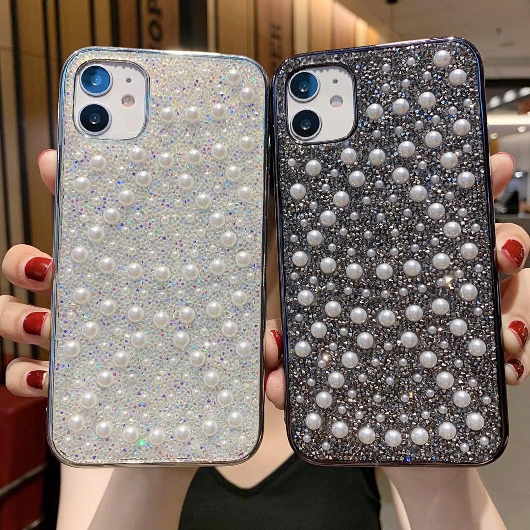 فلاش الفاخرة البلينية الماس واللؤلؤ الهاتف القضية للحصول على برو 11 ماكس XS XR 8 7plus مع سلسلة الحبل الأزياء الغلاف الخلفي لؤلؤة الماس