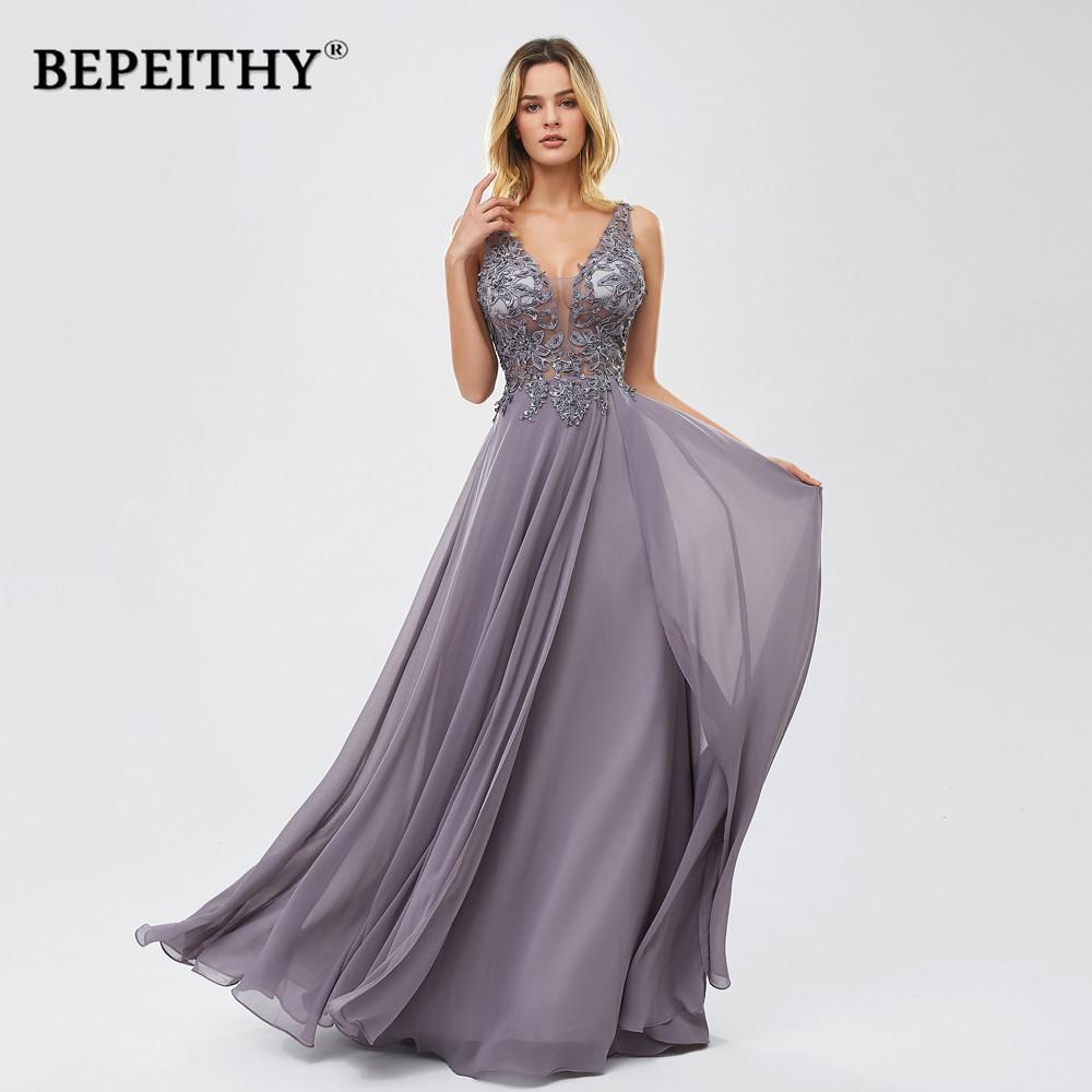 BEPEITHY Vestidos De Gala V шеи длинные выпускные платья 2020 Vintage шифон вечернее платье Новый Y200710