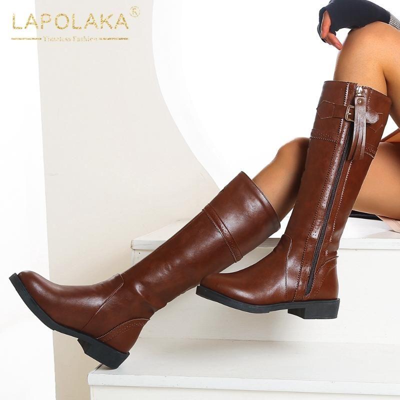 Lapolaka 2020 vendita calda Plus Size 48 spessi Tacchi metà polpaccio stivali Scarpe Donna Zip Up Retro INS il nuovo disegno comodi stivali femminile