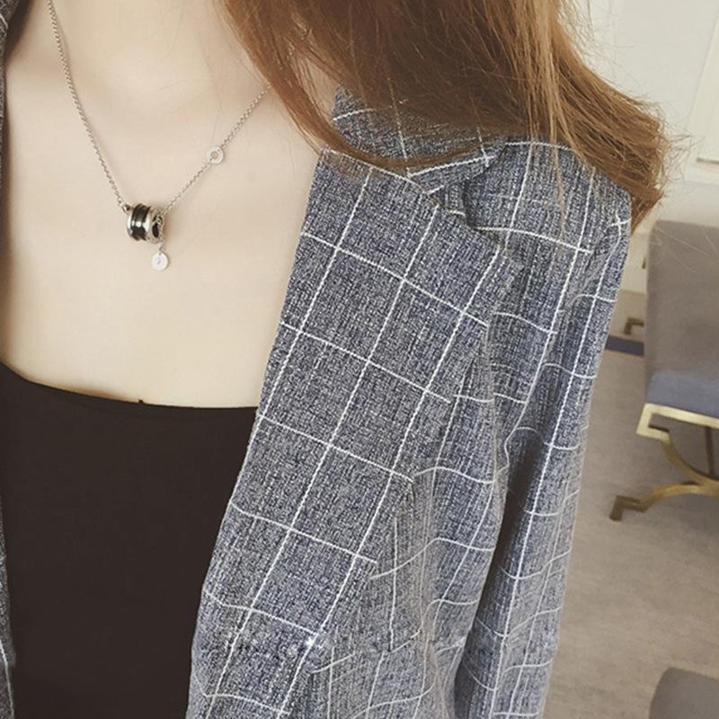 Nuevo estilo y pantalones cortos de Corea del traje de la moda chaqueta a cuadros de las mujeres pendientes occidental z2P3t pantalones cortos de pierna ancha del estilo del otoño de Hong Kong de tres piez