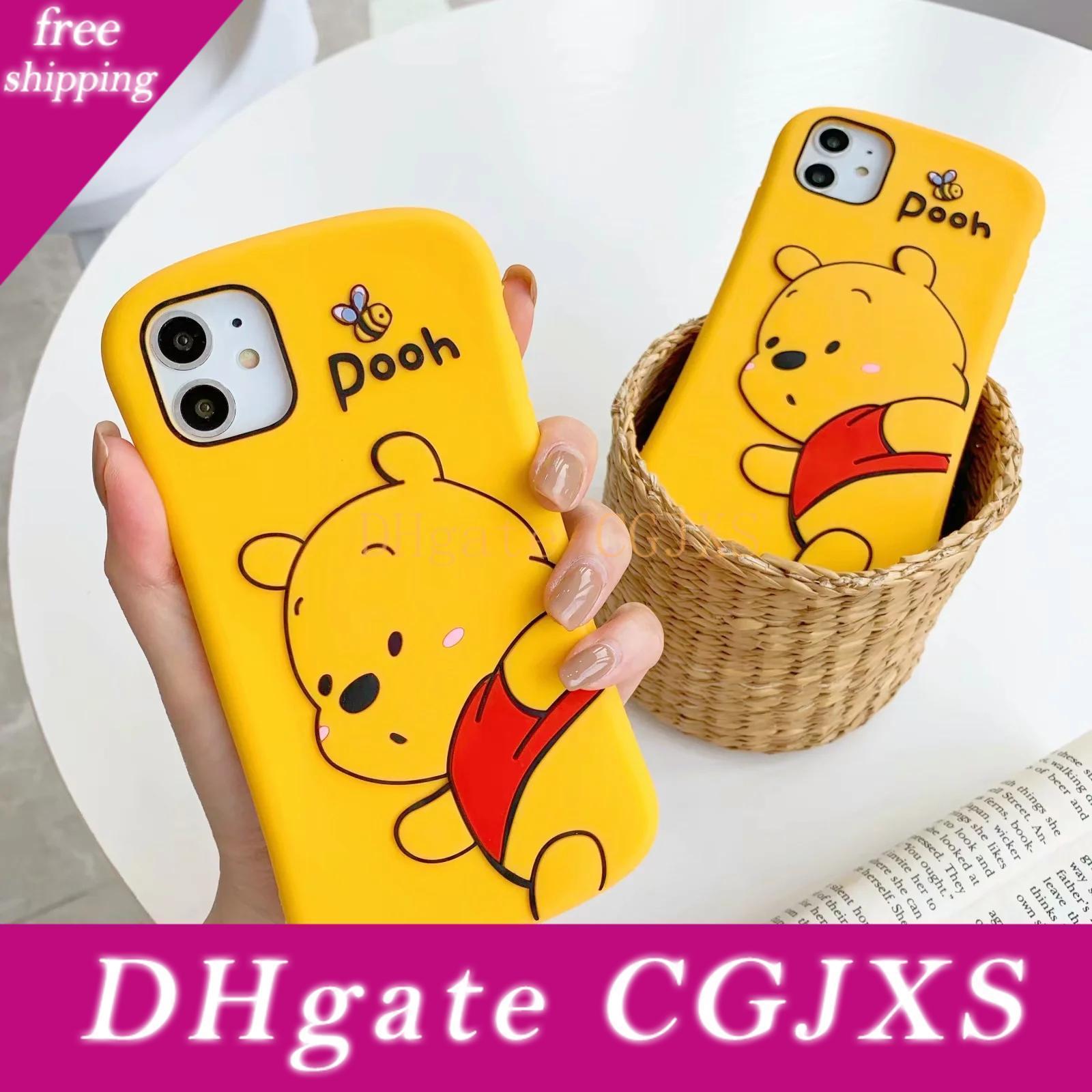 Desenhos animados 3d Silício Macio Telefone Capa Para Iphone Case Cover 11 Pro X Xr Xs Max Meninas Borracha Bump Protector Magro cintura Voltar