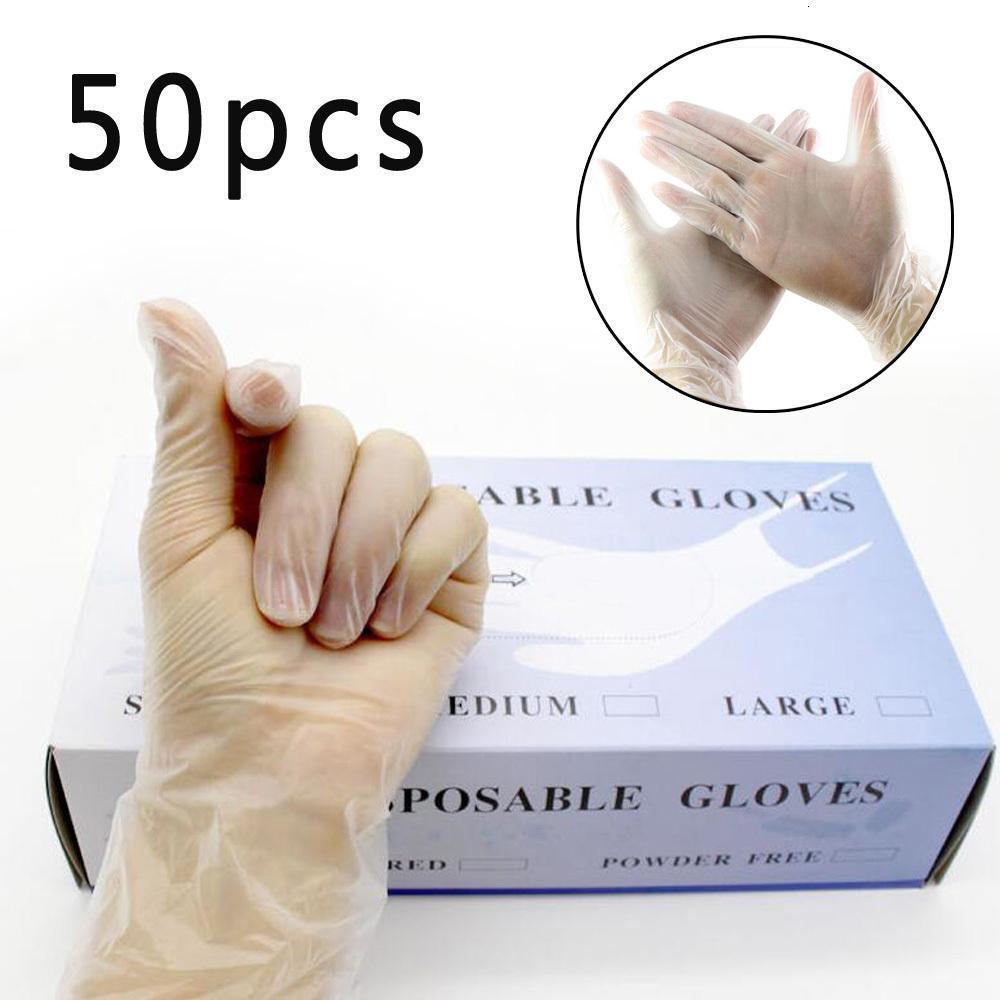 Heiße gute Großhandelspreis 50pcs Komfortable Einweg-Anti-Rutsch-Schutzhandschuhe Transparent Oilproof Haushalt Reinigungs-Tools