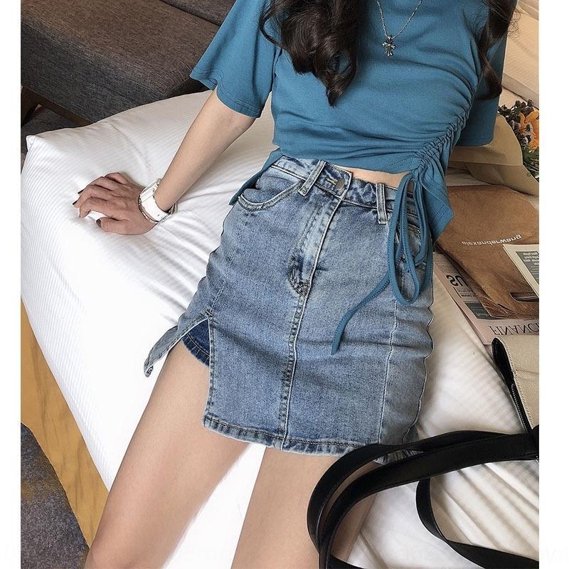 8mV4i nova verão 2020 de moda denim saia dividida cintura alta Slim Fit mulheres verticais denim saia para stripe