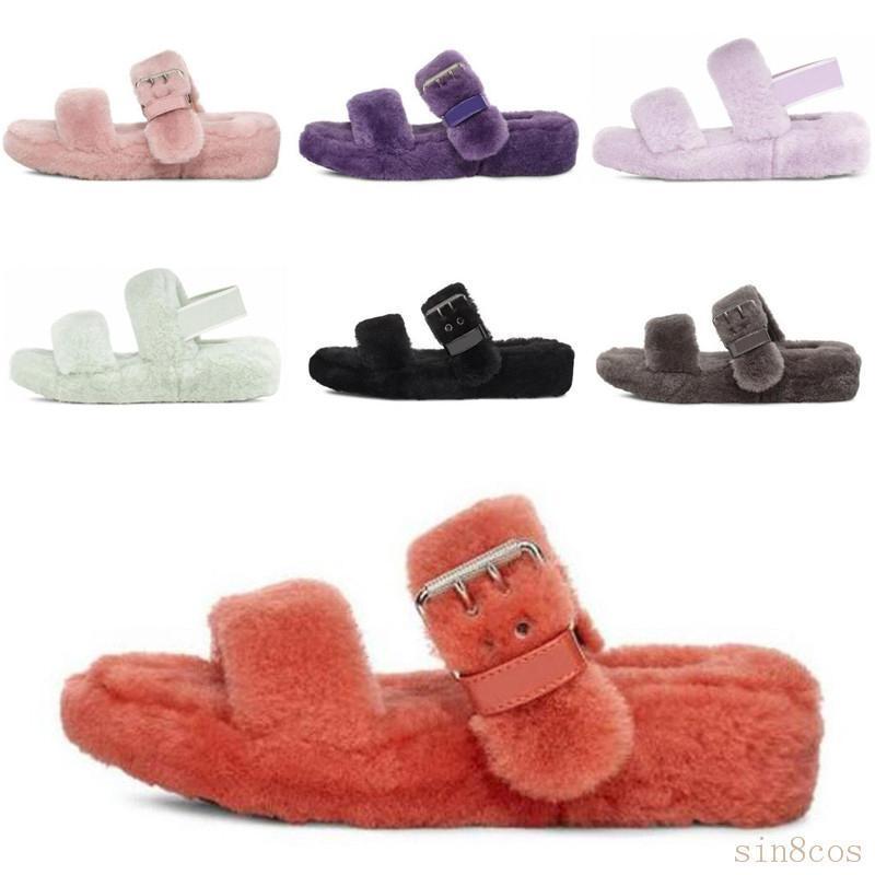 2020 Nova Austrália fluff oh sim mulheres moda casual macia faux lâminas peludos inverno chinelo fuzz sandálias vison chinelos mulheres pele nhhV #