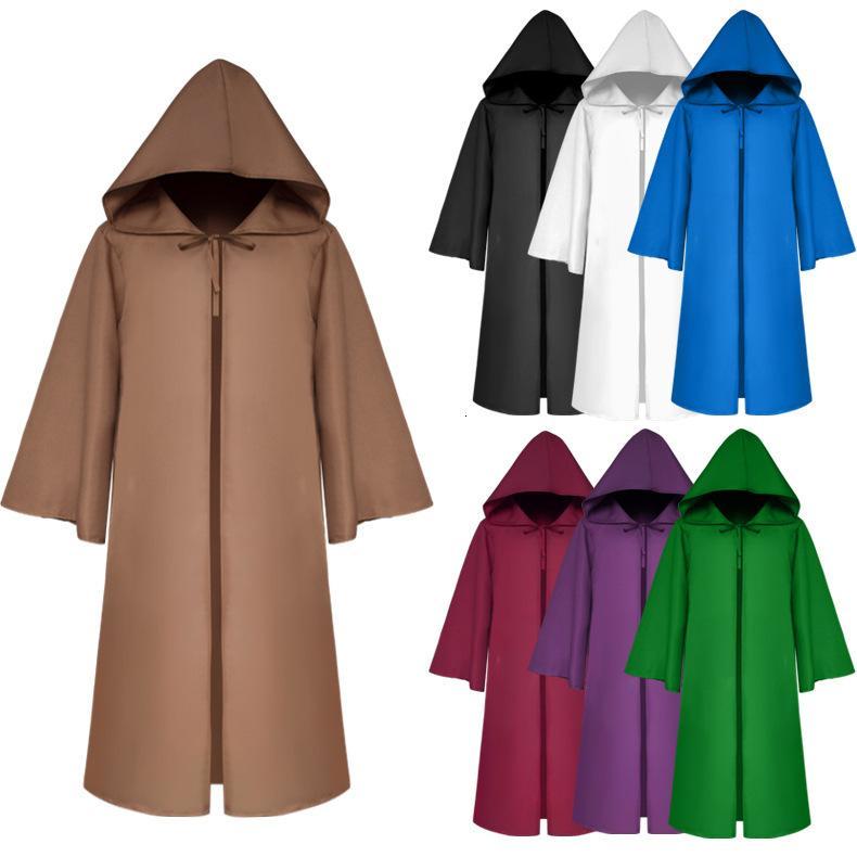 Halloween Death wizard Cloak Cosplay Costume Monk Hooded Robes Cloak Cape Friar Medieval Renaissance Priest kids adult