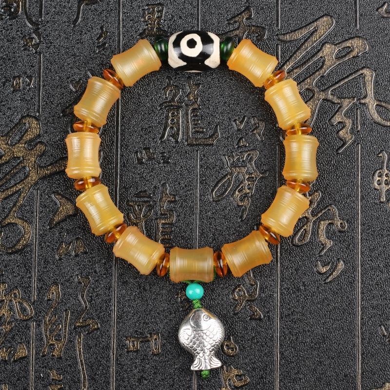 cjXok pulseira grau templo Jokhang Tibete levantou croissants círculo único com Tianzhu pingente pingente de prata tibetana Natural Stationer voSp0