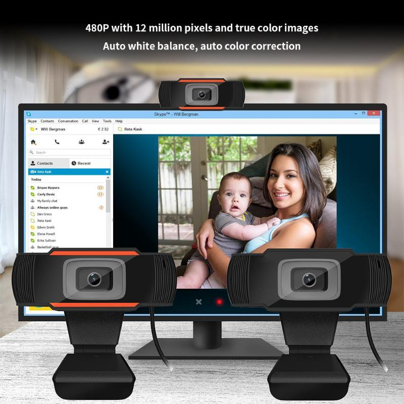 HXSJ A870 USB Webcam 480P Foco Fixo Câmara Web com Built-in sonoro microfone para pc computador desktop Laptop Preto