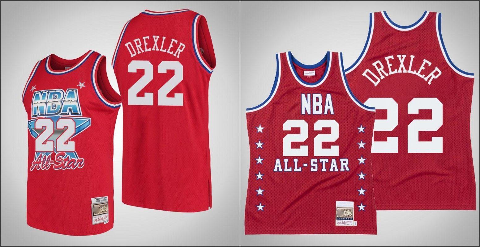 1988 Portland TrailBlazersMitchell Ness Clyde Drexler UomoNBA 1991 All-Star Red Swingman Jersey