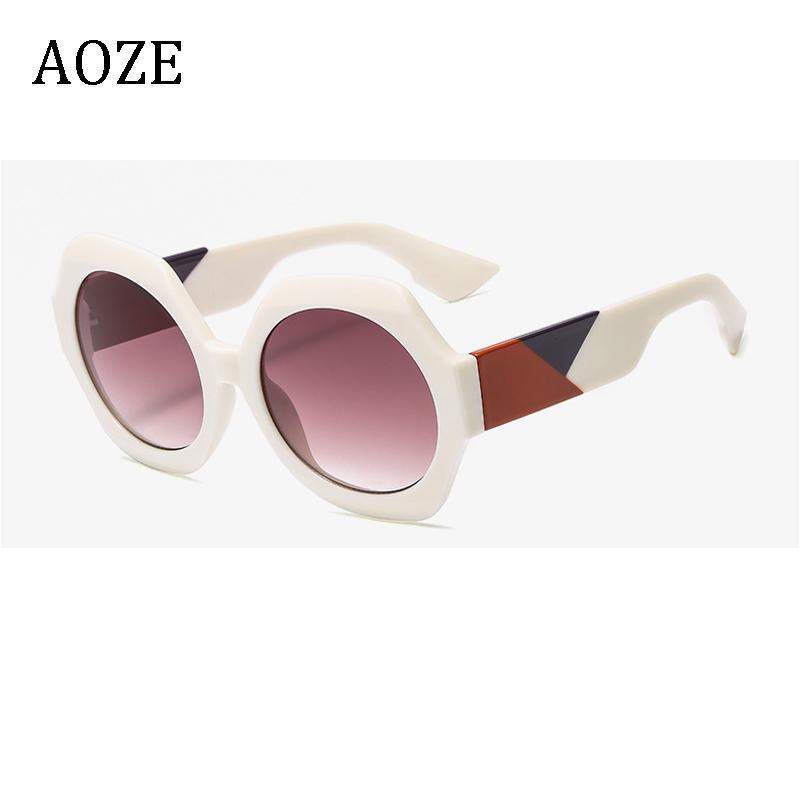 AOZE 2020 New Sechseck Sonnenbrille der Frauen des Leopard-Sonnenbrille Gradient-Modus Shades oculos feminino UV400
