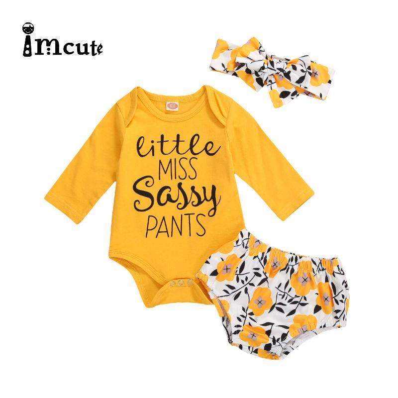 Imcute 2020 новорожденных Baby Girl Одежда для новорожденных Baby Girl наборы Письмо Bodysuits + цветок печати Брюки + Hairband нарядах