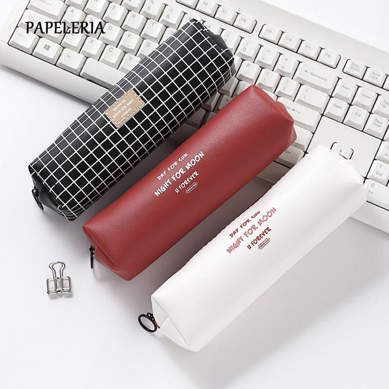 جلد أسود قلم رصاص مدرسة حالة الشبكة حقيبة رصاص الصلبة اللون الأبجدية الإنجليزية مقلمة لوازم القرطاسية فتاة الحقيبة