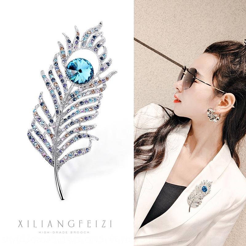 broches haut de gamme cristal Broche plume pleine de diamants cristal de diamant Broche strass coréenne strass lightelegant Eho0s de vêtements de style fxjDJ