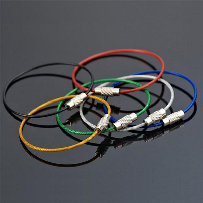 Keychain del supporto di plastica Split strumento Portachiavi Unisex Wire Rope Keyfob all'aperto Colori 6L Portachiavi Metal Protection 5pc Accessori 624_tsetgIN