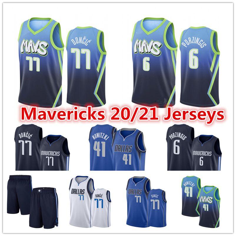 الرجال ديرك نوفيتسكي 41 رخيصة لوكا 77 رجل Doncic جيرسي كريستابس 6 Porzingis المدينة الزرقاء دالاسمافريكس2020 كرة السلة الفانيلة