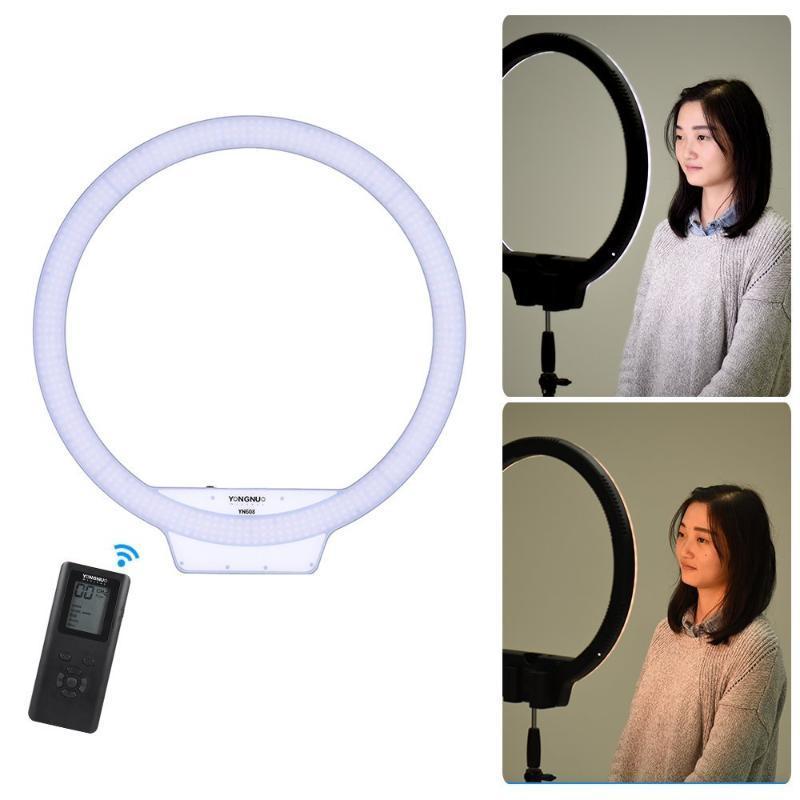 YongNuo YN608 селфи Кольцо света 3200K ~ 5500K Bi-цв.температура Беспроводной пульт дистанционного LED Video Light CRI95 с ручкой тисках
