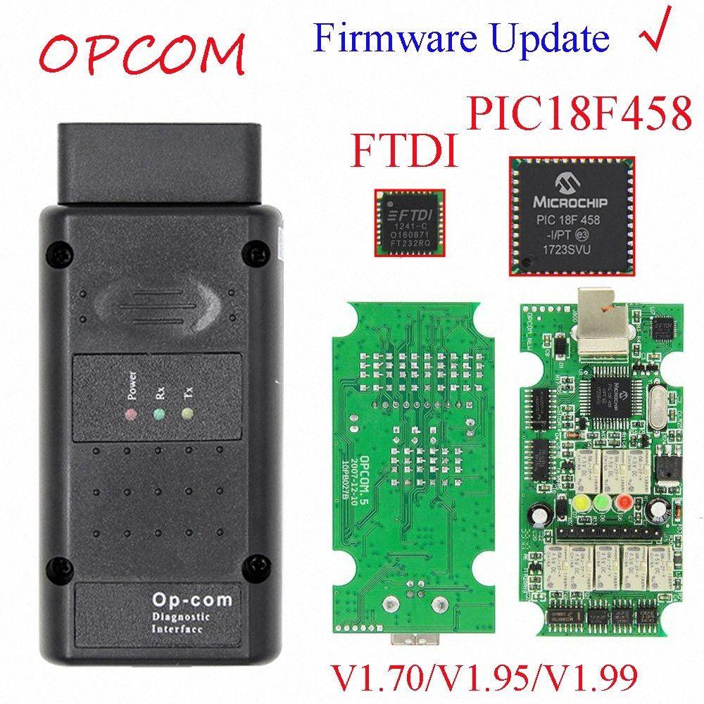 Может флэш Обновление прошивки OPCOM 1,99 1,95 1,70 OBD2 CAN BUS Code Reader для OP COM OP COM диагностический PIC18F458 FTDI Chip J9Hm #