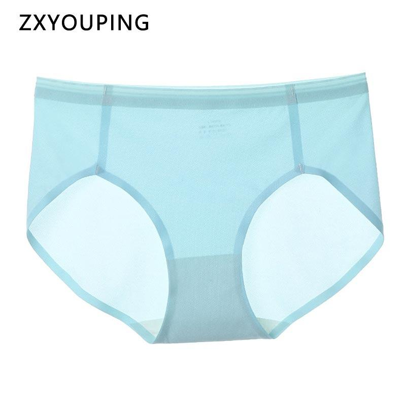 3Pcs Seamless Panties Women Sexy Soft Underwear Ultra Thin Ice Silk Breathable Lingerie Ladies Solid Color Mid Waist Briefs M-XL