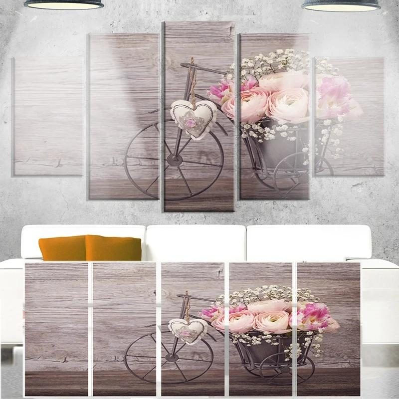 5 Piece Prints Home Decor Canvas Painting Wall Art Bicycle Basket Flowers Modern Modular Pictures For Living Room Poster Framed