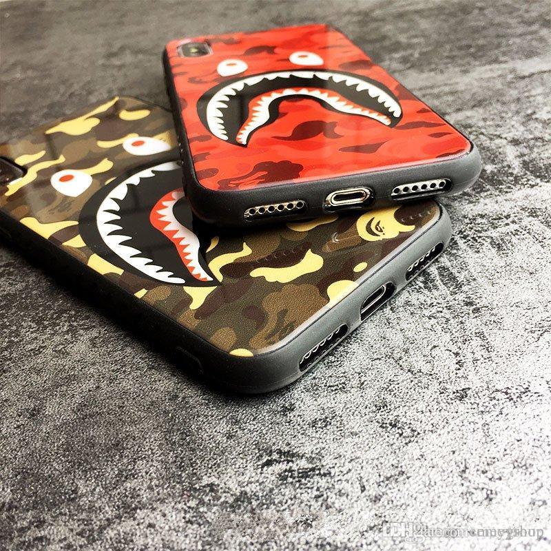 Закаленное стекло Камуфляж Shark Apple, iphone 11 про хт X XS MAX Четыре угла Anti-падения iPhone 6S 7 8 7P 8Plus Силиконовый чехол