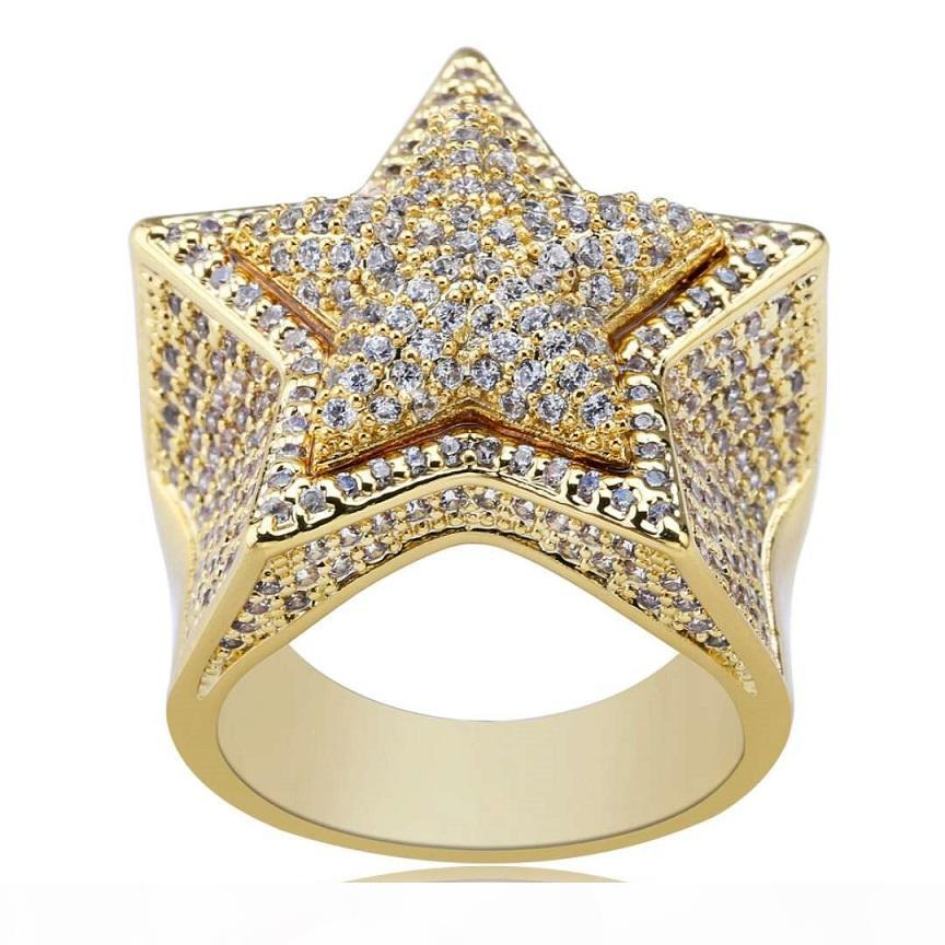 hip hop star diamonds rings for men luxury crystal gold silver ring 18k gold plated copper zircons ring jewelry gifts for bf free shipping