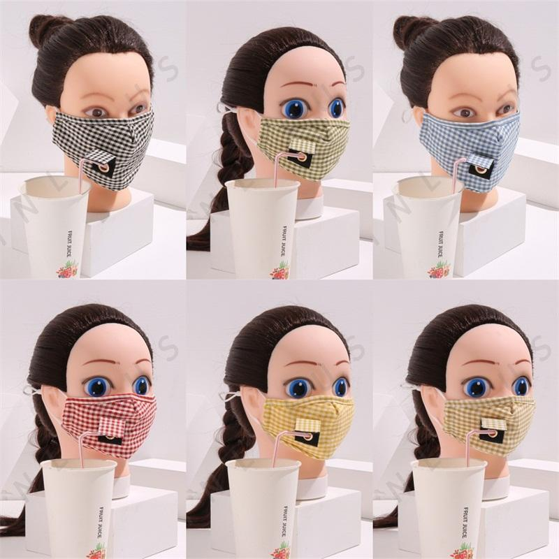Reusable Respirator Drink Holes Plaid Face Masks Foldable Mascarilla Protection Can Put Filter Piece Breathable Men And Women 5xl E2