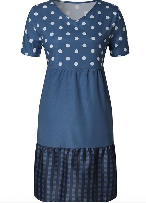 4mZvF контраст 2020 V-образный вырез моды лето женщины одежды мода женской одежда элегантный летний полька распечатанных цвета платья 45xJi для горя