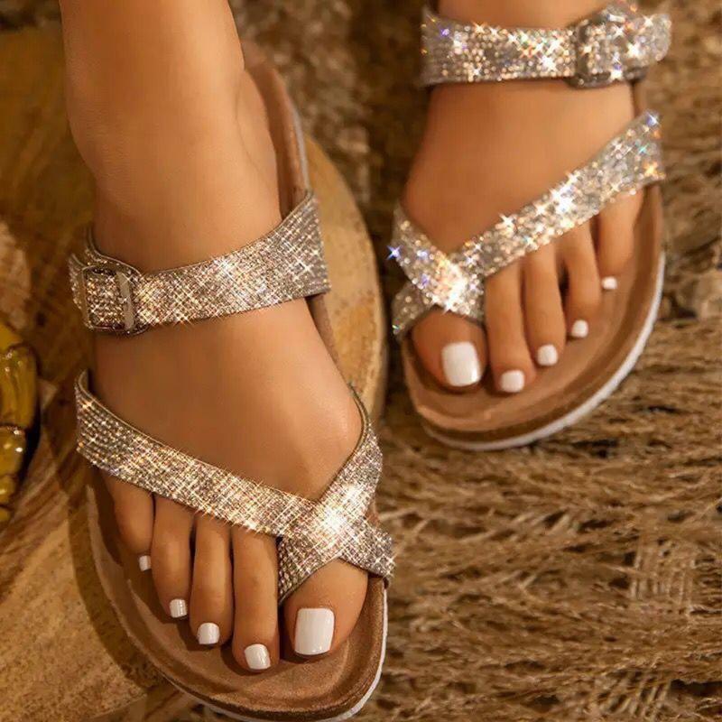 2020 sandalias de las mujeres del verano Flip-Flop plana hebilla de cinturón de tiras de punta abierta Rhinestone Bling Beach zapatos Rhinestones deslizadores de las sandalias #