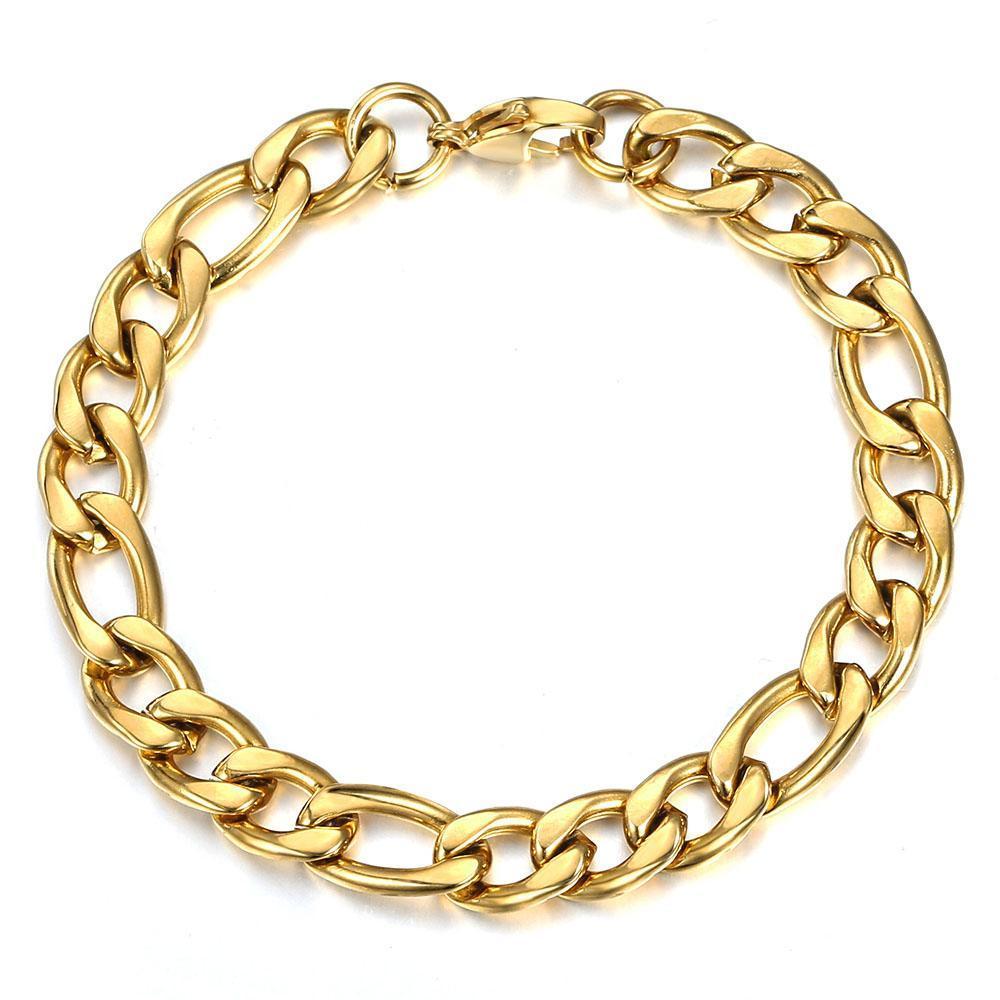 Argento Oro di collegamento del serpente cavigliera Beach Accessori 5 Bracciale Colour Jewelry piede semplice 9 millimetri 7 10inch Per Catena Figaro donne bbyhOR